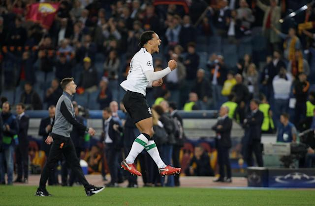 Soccer Football - Champions League Semi Final Second Leg - AS Roma v Liverpool - Stadio Olimpico, Rome, Italy - May 2, 2018 Liverpool's Virgil van Dijk celebrates after the match REUTERS/Max Rossi