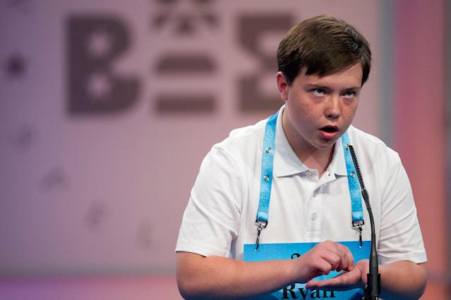 <p>Ryan Crawford, 12, from South Boston, Va., correctly spells his word during the 90th Scripps National Spelling Bee in Oxon Hill, Md., Wednesday, May 31, 2017. (AP Photo/Cliff Owen) </p>
