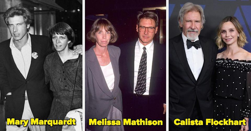 Harrison Ford with two ex-wives and his current wife