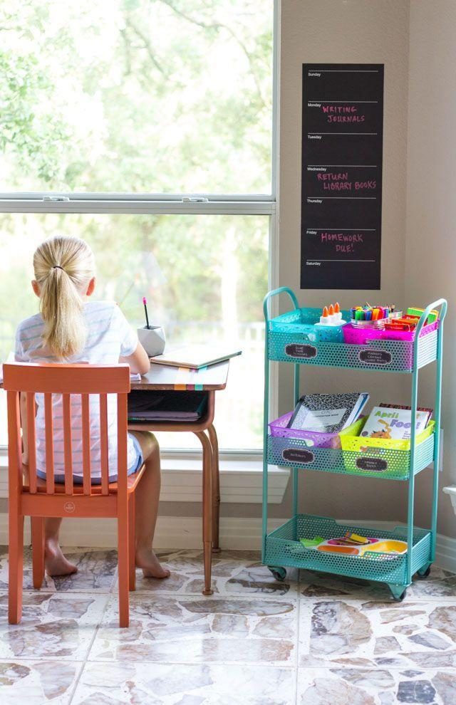 """<p>Give your little scholar their own space to get work done with this portable homework station. All you need to put it together is a rolling cart, plastic storage baskets, a dry erase calendar, and a small desk or table. </p><p><strong><em><a href=""""https://designimprovised.com/2016/08/how-to-create-homework-station.html"""" rel=""""nofollow noopener"""" target=""""_blank"""" data-ylk=""""slk:Get the tutorial at Design Improved"""" class=""""link rapid-noclick-resp"""">Get the tutorial at Design Improved</a>. </em></strong></p><p><a class=""""link rapid-noclick-resp"""" href=""""https://www.amazon.com/Wallies-Reusable-Chalkboard-Calendar-Sticker/dp/B011R7E244?tag=syn-yahoo-20&ascsubtag=%5Bartid%7C10070.g.37133630%5Bsrc%7Cyahoo-us"""" rel=""""nofollow noopener"""" target=""""_blank"""" data-ylk=""""slk:SHOP DRY ERASE CALENDAR"""">SHOP DRY ERASE CALENDAR</a></p>"""
