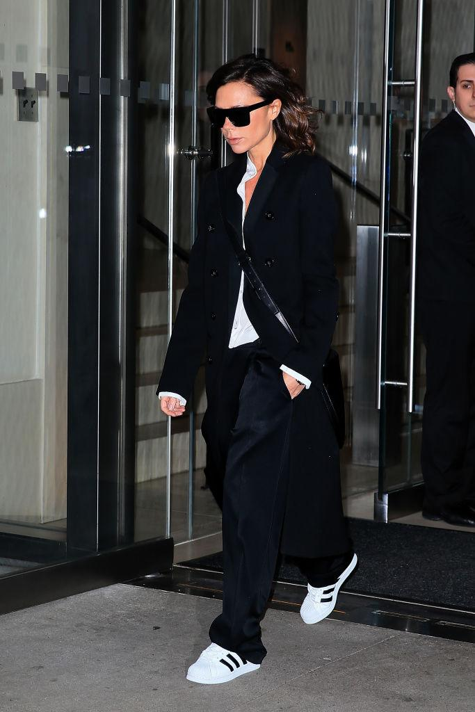 Victoria Beckham leaves her Hotel wear a black and white casual look on February 8, 2017 in New York City. (Photo by Pierre Suu/GC Images)