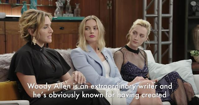 Kate Winslet's peers are unamused by her praise of Woody Allen. (Photo: YouTube)
