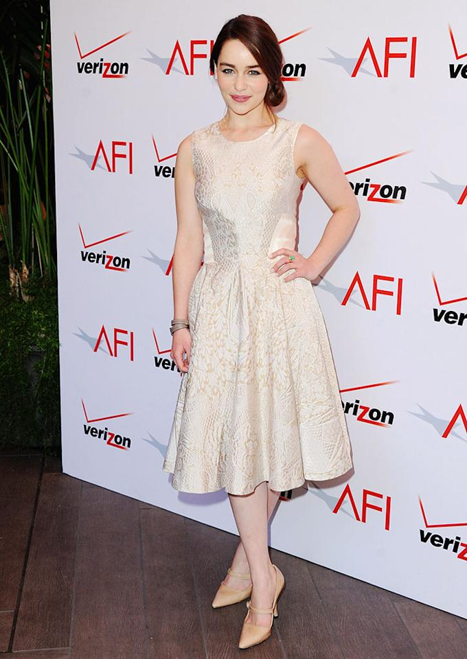 Emilia Clarke arrives at the 2012 AFI Awards Luncheon on January 11, 2013 in Beverly Hills, California.