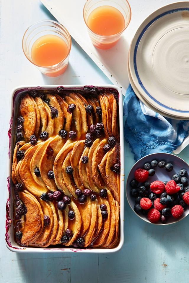 """<p><b>Recipe: </b><a href=""""https://www.southernliving.com/recipes/blueberry-pancake-breakfast-casserole-recipe""""><b>Blueberry Pancake Breakfast Casserole</b></a></p> <p> Pancake casserole is a fabulous way to serve a crowd for a big-batch brunch. This dish can be prepared in advance to make your party prep a breeze.</p>"""