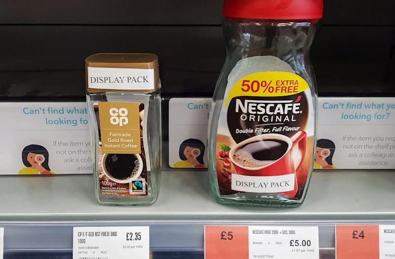 The Co-op store in Redcliffe, Bristol which is putting empty containers on the shelves after a spate of thefts. November 09, 2019. A supermarket has brought in unusual measures to combat daily shoplifting attempts. The Co-op on The Square, Redcliffe, Bristol, is displaying empty containers of coffee and laundry detergent, while limiting the number of meats and cheeses on shelves. An employee at the shop says thieves target it several times each day, repeat offenders even disguising themselves to avoid detection. The store has also been cutting holes at the bottom of cardboard boxes which hold sweets so that thieves can't take them away in bulk See SWNS story SWBRempty.
