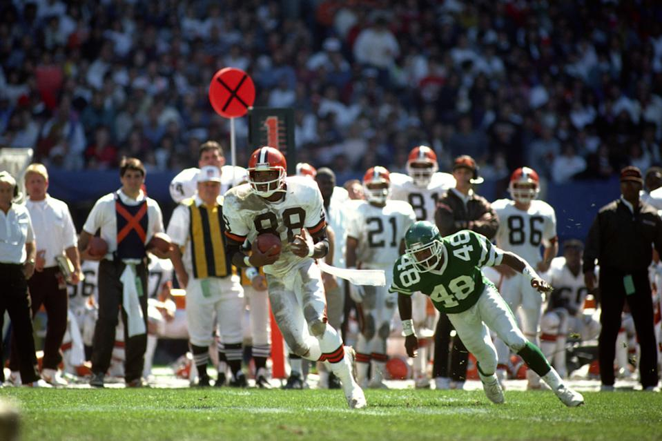 Reggie Langhorne is mostly remembered for his time with the Browns, but had his first and only 1,000-yard season with the Colts. (Photo by George Gojkovich/Getty Images)