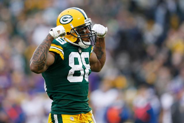 GREEN BAY, WI - DECEMBER 2: Jermichael Finley #88 of the Green Bay Packers celebrates after catching a pass for a first down against the Minnesota Vikings during the game at Lambeau Field on December 2, 2012 in Green Bay, Wisconsin. The Packers won 23-14. (Photo by Joe Robbins/Getty Images)
