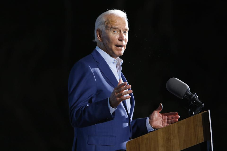Democratic presidential candidate Joe Biden speaks during a drive-in rally at the Florida State Fairgrounds on Thursday, Oct. 29, 2020, in Tampa, Fla. (Luis Santana/Tampa Bay Times via AP)