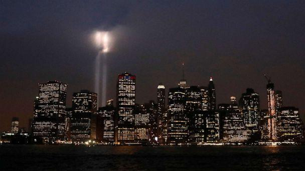 PHOTO: The Tribute in Light installation is illuminated over lower Manhattan as seen from Brooklyn, September 11, 2018. (Brendan Mcdermid/Reuters, FILE)