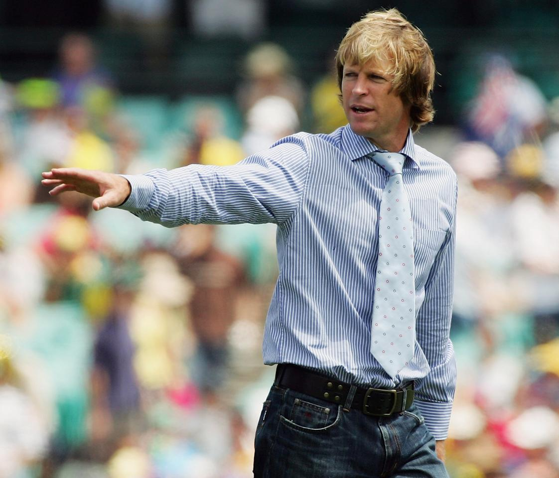 SYDNEY, NSW - FEBRUARY 05:  Former South African cricketer Jonty Rhodes looks on before Game 11 of the VB Series between Australia and South Africa played at the Sydney Cricket Ground on February 5, 2006 in Sydney, Australia.  (Photo by Hamish Blair/Getty Images)