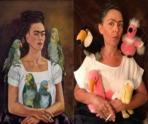 Gail Lawlor as Frida Kahlo in the self-portrait titled Me and My Parrots.