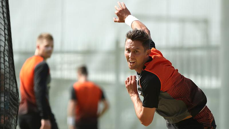Pictured here, Trent Boult will return from injury for the Kiwis in the Boxing Day Test.