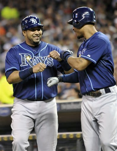 Tampa Bay Rays' Jose Molina, left, and Desmond Jennings celebrate after they scored on a two-run B.J. Upton double off Minnesota Twins pitcher Luis Perdomo in the sixth inning of a baseball game on Friday, Aug. 10, 2012, in Minneapolis. Molina drove in two runs in the inning with a single off Jeff Manship. (AP Photo/Jim Mone)