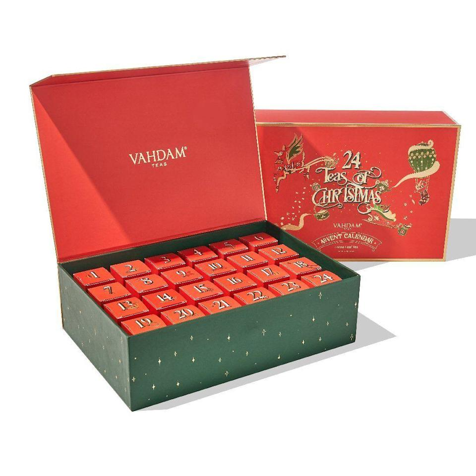 """<p>vahdamteas.com</p><p><strong>$79.99</strong></p><p><a href=""""https://go.redirectingat.com?id=74968X1596630&url=https%3A%2F%2Fwww.vahdamteas.com%2Fproducts%2Fholiday-advent-calendar-24-teas&sref=https%3A%2F%2Fwww.townandcountrymag.com%2Fleisure%2Fdrinks%2Fg13408658%2Ftea-advent-calendars%2F"""" rel=""""nofollow noopener"""" target=""""_blank"""" data-ylk=""""slk:Shop Now"""" class=""""link rapid-noclick-resp"""">Shop Now</a></p><p>Filled with 24 mini tins of the brand's hand-picked blends, you can feel extra warm and fuzzy as you sip, knowing that Vahdam is certified climate- and plastic-neutral and a portion of their proceeds go to improving educational opportunities in India. </p>"""