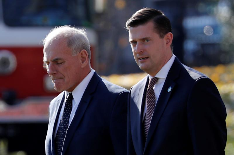 White House Chief of Staff John Kelly walks with White House Staff Secretary Rob Porter to depart with U.S. President Donald Trump aboard the Marine One helicopter from the White House in Washington, Nov. 29, 2017. (Photo:/Jonathan Ernst/Reuters)