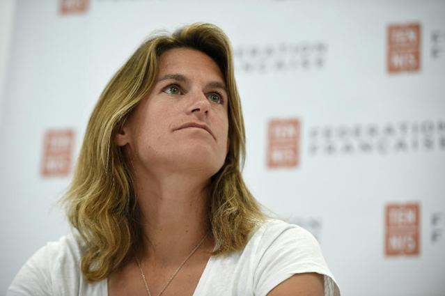 Amelie Mauresmo at a press conference in June after being appointed France's Davis Cup captain (AFP Photo/Lucas BARIOULET)