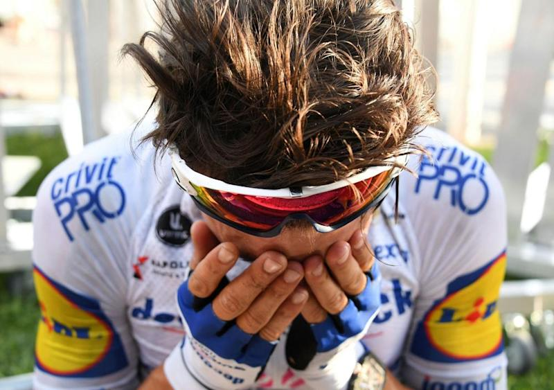 Deceuninck-Quick Step rider Julian Alaphilippe reacts after winning Stage 2 from Nice Haut Pays to Nice.