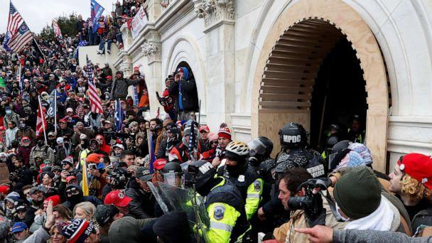 PHOTO: Pro-Trump protesters clash with police during a rally at the U.S. Capitol Building in Washington, D.C., U.S, Jan. 6, 2021.  (Shannon Stapleton/Reuters)