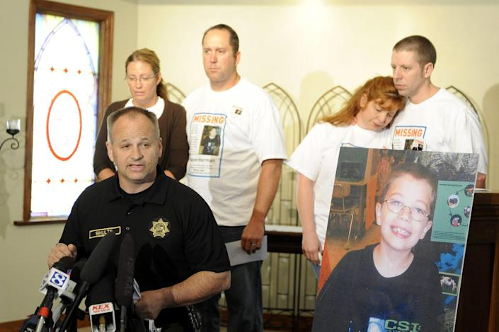 Capt. Jason Gates of the Multnomah County Sheriff's Office introduces the family of missing 7-year-old Kyron Horman at Brooks Hill Historical Church across from Skyline Elementary School in Portland, Ore., on June 11, 2010. Behind him, from left, are Kyron's mother, Desiree Young; Tony Young; Terri Horman; and Kyron's father, Kaine Horman.