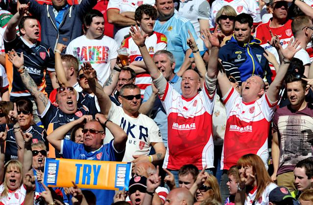 Hull Kingston Rovers fans in the stands during the Super League Magic Weekend at the Etihad Stadium, Manchester.