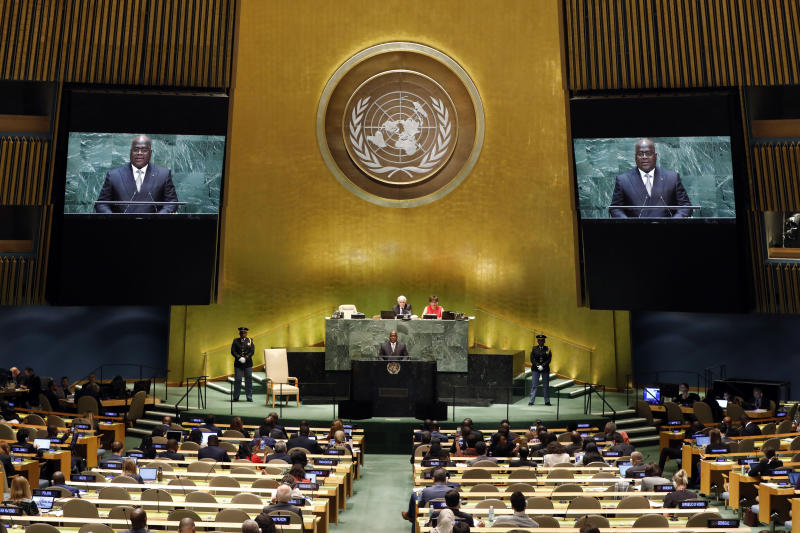 Republic of Congo's President Felix Tshisekedi addresses the 74th session of the United Nations General Assembly, Thursday, Sept. 26, 2019. (AP Photo/Richard Drew)