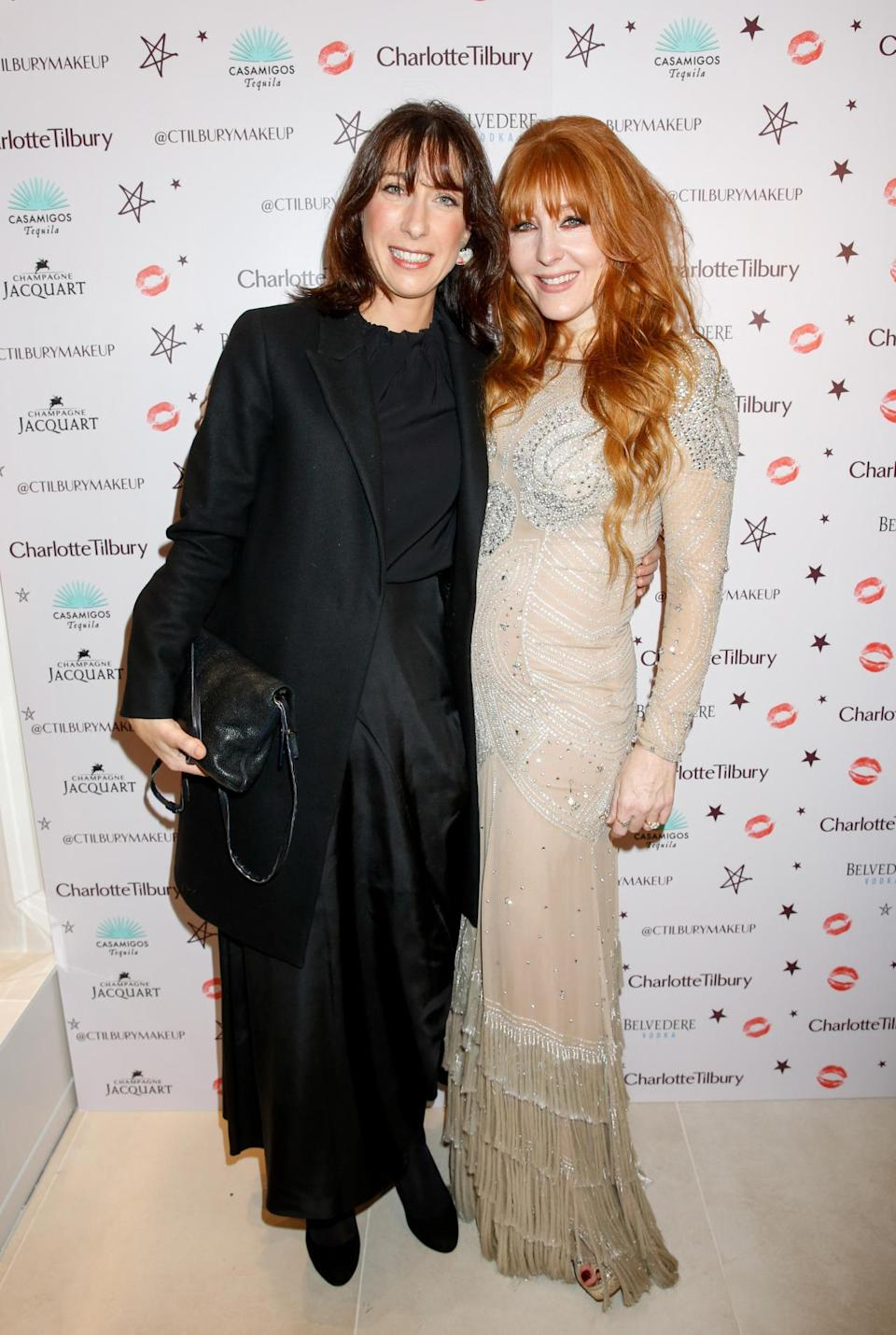 The lady of the house, Charlotte Tilbury, with Samantha Cameron. [Photo: Rex]