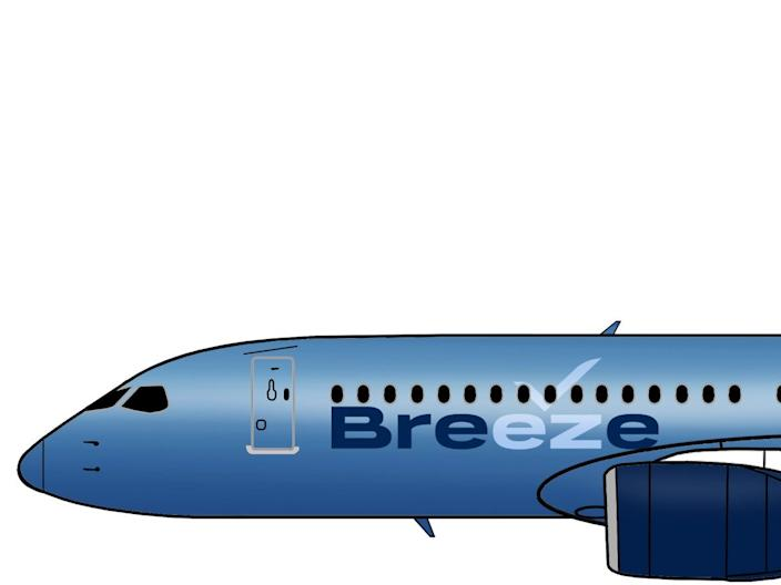 A Breeze Airways Airbus A220 aircraft rendering.