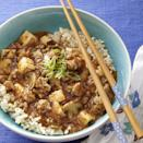 <p>Ma Po Tofu is a traditional Chinese recipe usually made with ground pork. This delicious, healthy version uses ground turkey to cut saturated fat and calories and adds mushrooms for extra veggies. Serve with brown rice and make it extra special with a drizzle of sesame oil just before serving.</p>