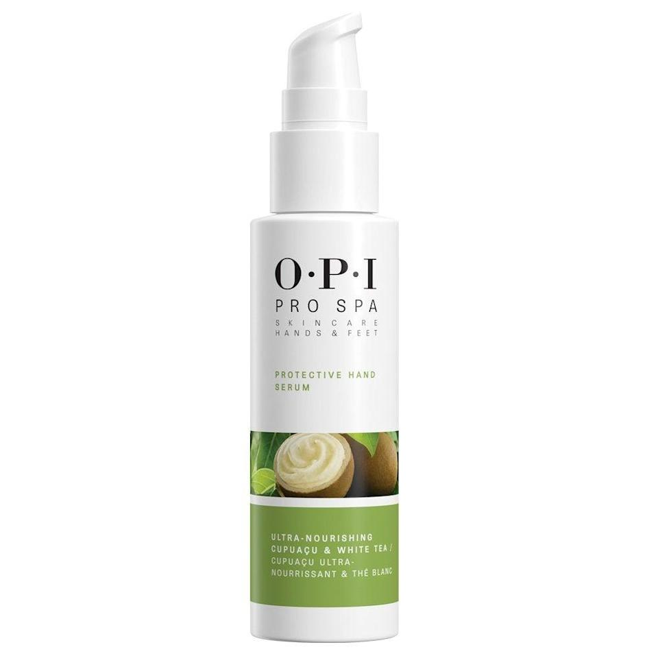 """<h2>OPI ProSpa Protective Hand Serum</h2>Much like serums for your face, this one — a concentration of daisy flower extract, vitamin C, and peptides to brighten, plump, protect, and fight free radicals — delivers a shot of hydration in an instant.<br><br><br><strong>OPI</strong> Pro Spa Protective Hand Serum, $, available at <a href=""""https://www.amazon.com/gp/product/B074PWBCJP"""" rel=""""nofollow noopener"""" target=""""_blank"""" data-ylk=""""slk:Amazon"""" class=""""link rapid-noclick-resp"""">Amazon</a>"""