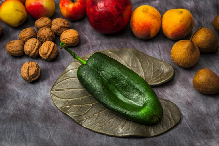 """A poblano chile pepper is pictured with other ingredients used to make """"Chile en Nogada"""" at Mexican chef Ricardo Munoz Zurita's Azul Condesa restaurant in Mexico City"""