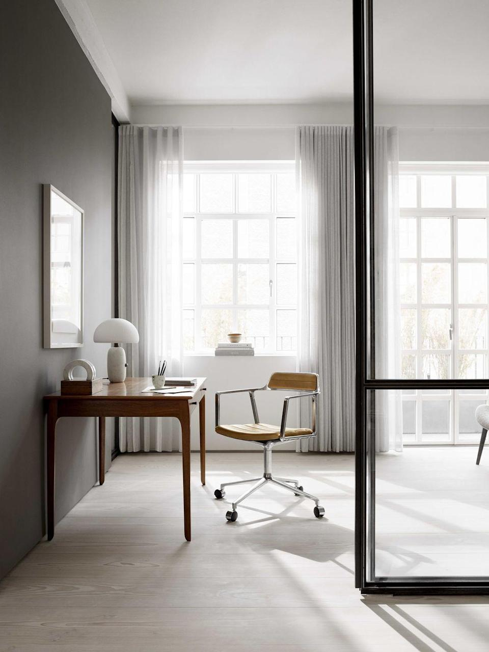 """<p>Vipp's first-ever chair design, the 'Vipp Chair', has been updated with a new swivel base and castors, rendering it a stylish, practical and comfortable option suitable for any home office. From £839, <a href=""""https://vipp.com/en/products/swivel-chair-w-gliders"""" rel=""""nofollow noopener"""" target=""""_blank"""" data-ylk=""""slk:vipp.com"""" class=""""link rapid-noclick-resp"""">vipp.com</a></p>"""