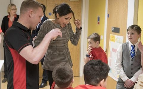 Meghan Markle meets children in Cardiff - Credit: WPA Pool