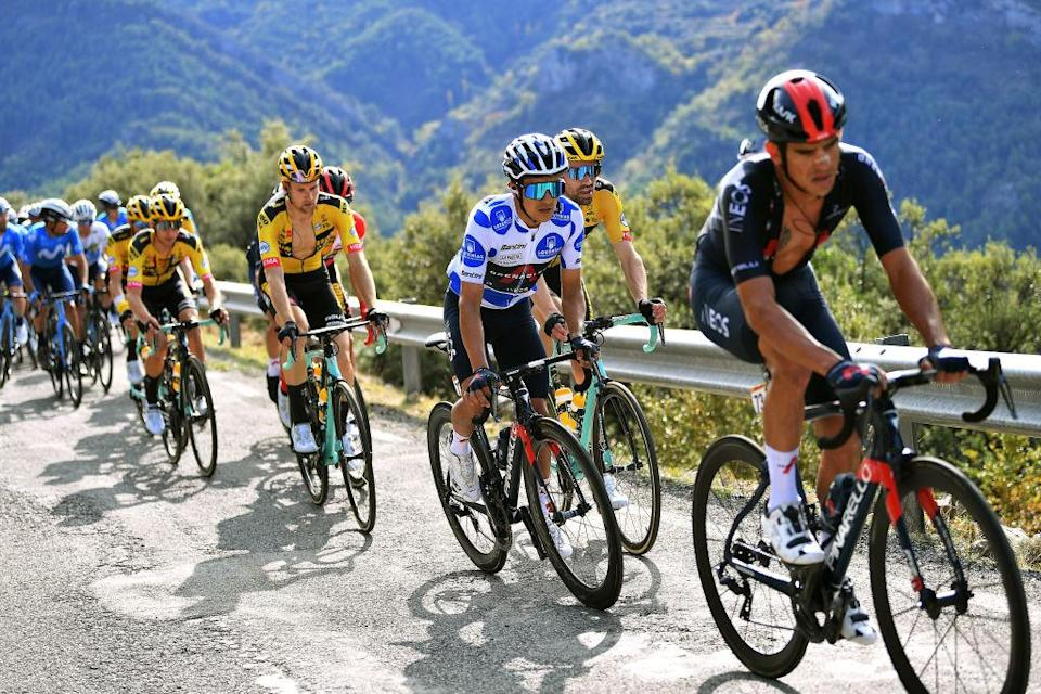 SABIANIGO SPAIN  OCTOBER 24 Lennard Hofstede of The Netherlands and Team Jumbo  Visma  Tom Dumoulin of The Netherlands and Team Jumbo  Visma  Richard Carapaz of Ecuador and Team INEOS  Grenadiers Polka Dot Mountain Jersey  during the 75th Tour of Spain 2020 Stage 5 a 1844km Huesca to Sabinigo 835m  lavuelta  LaVuelta20  La Vuelta  on October 24 2020 in Sabinigo Spain Photo by Justin SetterfieldGetty Images