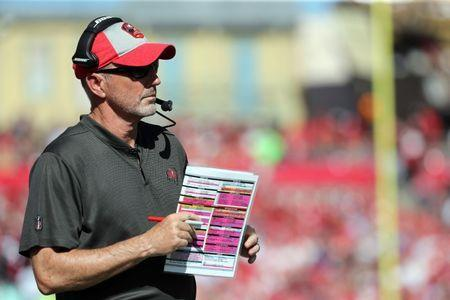 Dec 30, 2018; Tampa, FL, USA; Tampa Bay Buccaneers head coach Dirk Koetter looks on during the first quarter against the Atlanta Falcons at Raymond James Stadium. Mandatory Credit: Kim Klement-USA TODAY Sports