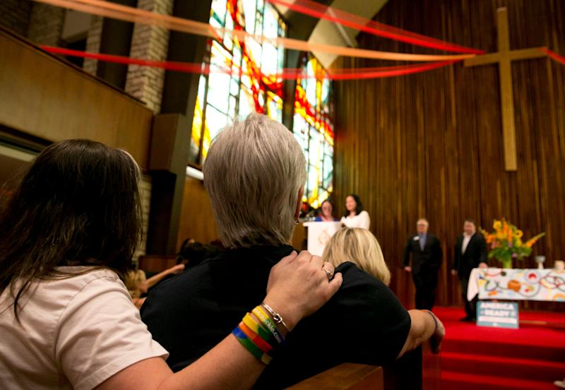 "Since 2014, the Presbyterian Church (U.S.A.), America&rsquo;s largest Presbyterian denomination, has allowed its pastors to officiate same-sex ceremonies. In March 2015, the church <a href=""http://www.huffingtonpost.com/2015/03/17/pcusa-lgbt-book-of-order_n_6885966.html"">adopted a more inclusive definition of marriage in its constitution</a>, describing it as a union &ldquo;between two people.&rdquo;"