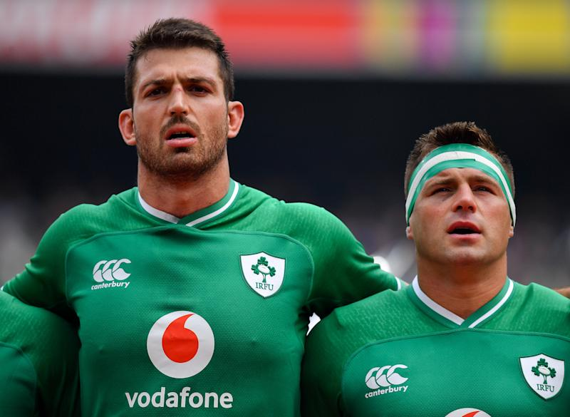 Dublin , Ireland - 7 September 2019; Jean Kleyn, left, and CJ Stander of Ireland sing Ireland's Call prior to the Guinness Summer Series match between Ireland and Wales at Aviva Stadium in Dublin.(Photo By Brendan Moran/Sportsfile via Getty Images)