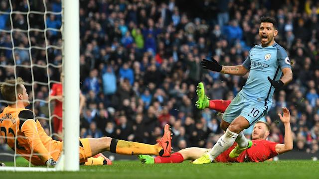 Sergio Aguero does not need to be coached on how to score, Manchester City boss Pep Guardiola said after Sunday's 1-1 draw with Liverpool.