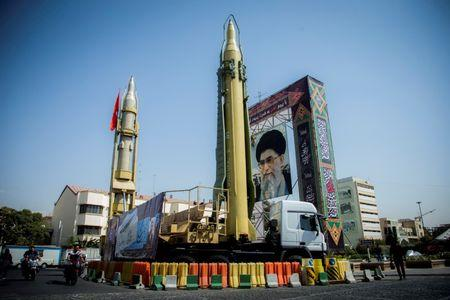 FILE PHOTO:  A display featuring missiles and a portrait of Iran's Supreme Leader Ayatollah Ali Khamenei is seen at Baharestan Square in Tehran, Iran September 27, 2017.  Nazanin Tabatabaee Yazdi//File Photo