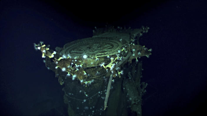 In this Oct. 7, 2019 image taken from underwater video provided by Vulcan Inc., the Japanese aircraft carrier Kaga is shown in the Pacific Ocean off Midway Atoll in the Northwestern Hawaiian Islands. A research vessel called the Petrel is launching underwater robots about halfway between the U.S. and Japan in search of warships from the Battle of Midway. Weeks of grid searches around the Northwestern Hawaiian Islands already have led the Petrel to one sunken battleship, the Kaga. This week, it's investigating what could be another. (Vulcan Inc. via AP)