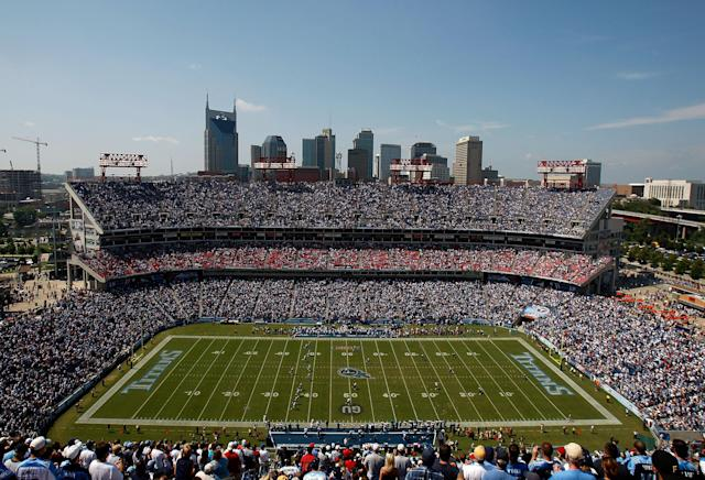 "A fan was taken to the hospital on Sunday after falling through netting at Nissan Stadium during the <a class=""link rapid-noclick-resp"" href=""/nfl/teams/ten"" data-ylk=""slk:Tennessee Titans"">Tennessee Titans</a>' 34-10 win against the <a class=""link rapid-noclick-resp"" href=""/nfl/teams/nwe"" data-ylk=""slk:New England Patriots"">New England Patriots</a>. (Getty Images)"