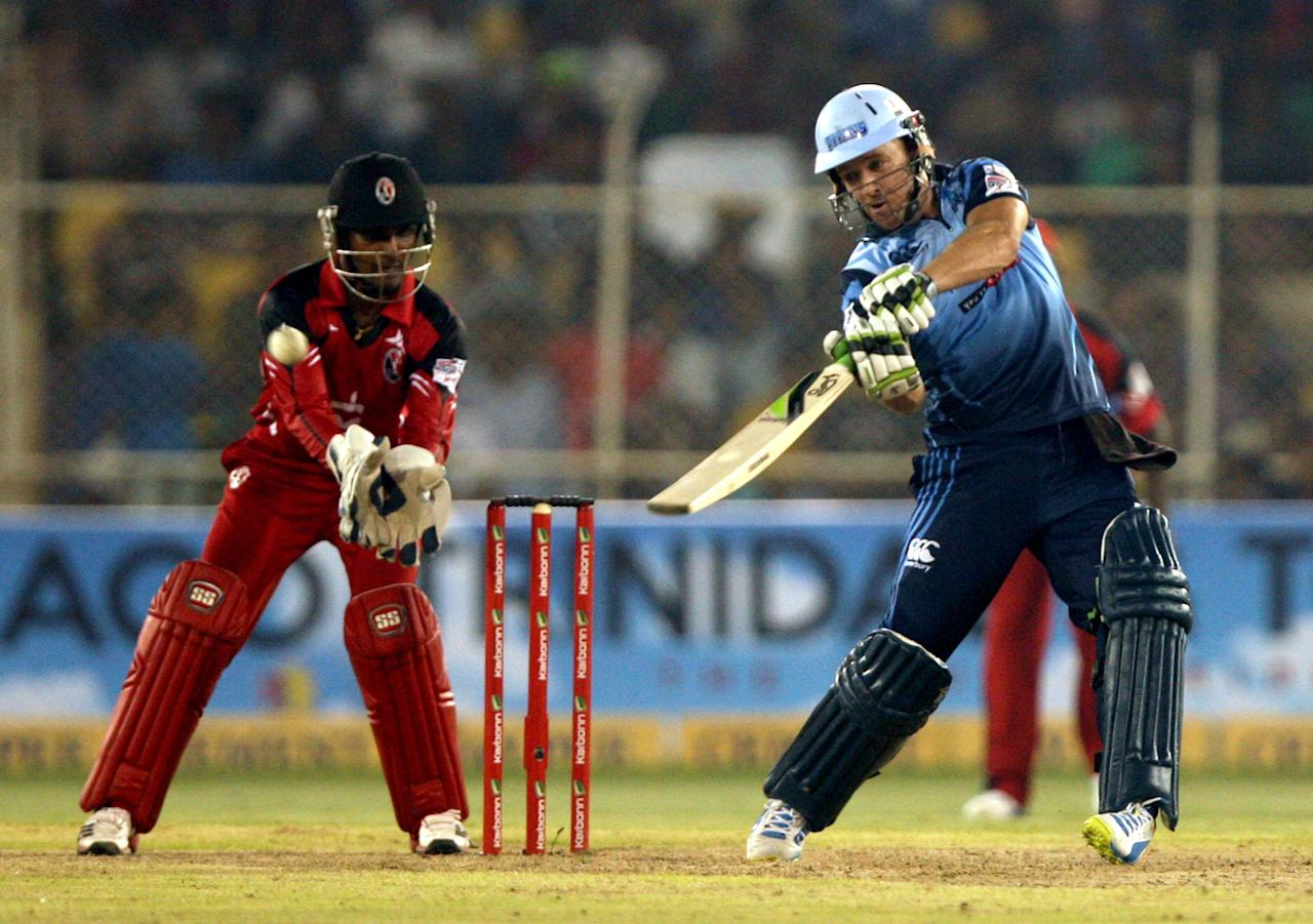Players in action  during the CLT20 match between Titans and Trinidad & Tobago at Sardar Patel Stadium, Motera in Ahmedabad on Sept. 30, 2013. (Photo: IANS)
