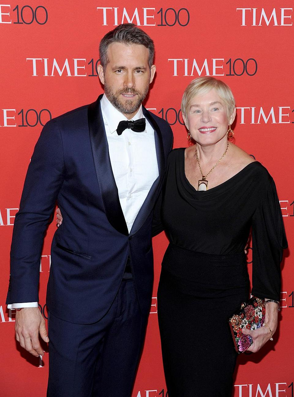 """<p>The influential <i>Deadpool</i> star brought his wife, Blake Lively, and his mom, Tammy Reynolds, along for the fun at the Time 100 Gala. Leslie Jones also snagged some time with Reynolds, whom she identified on Instagram as <a rel=""""nofollow noopener"""" href=""""https://www.instagram.com/p/BTWaQA7Dgzp/?taken-by=lesdogggg&hl=en"""" target=""""_blank"""" data-ylk=""""slk:her """"celebrity crush."""""""" class=""""link rapid-noclick-resp"""">her """"celebrity crush.""""</a> (Photo: MediaPunch/AKM-GSI) </p>"""