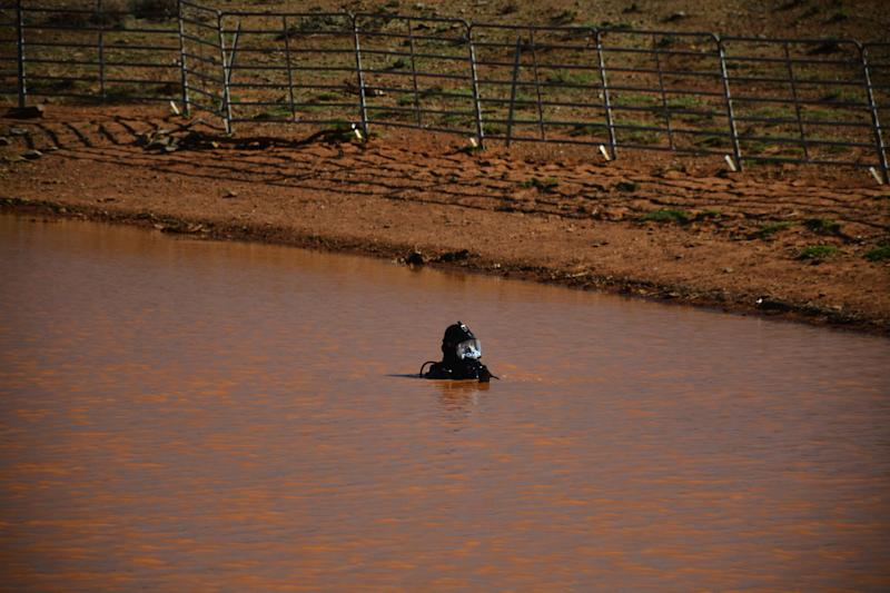 A police diver searching a waterway near Manna Hill for the body of Tanja Ebert. Source: SA Police