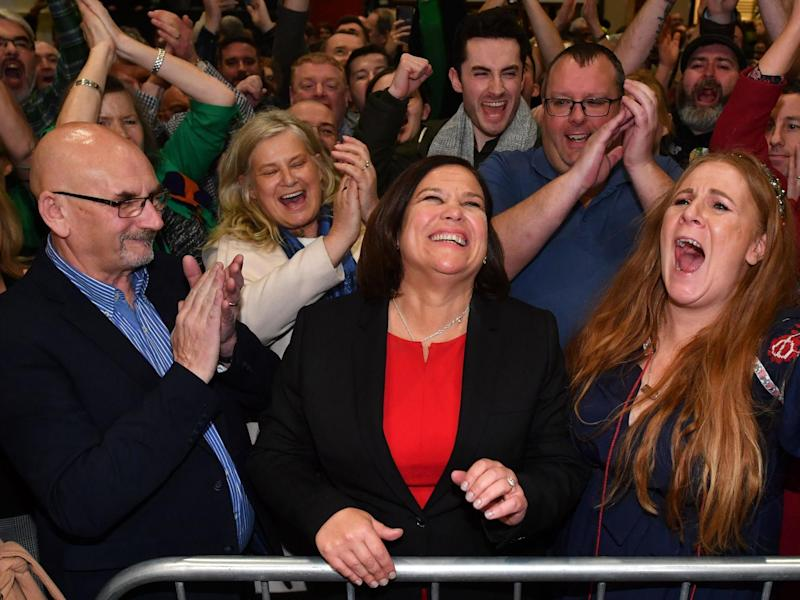 Mary Lou McDonald, Sinn Fein party leader, celebrates with supporters the day after the vote: AFP via Getty