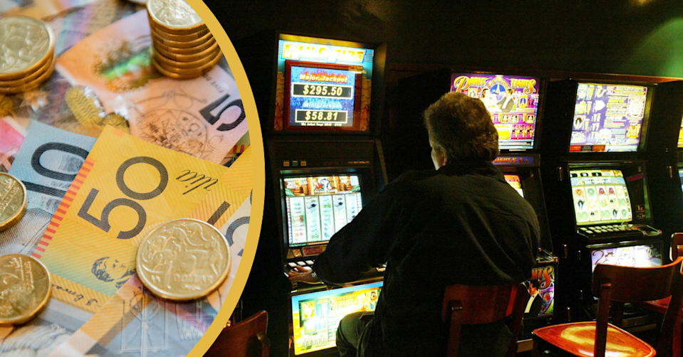 Australian currency and a man sitting in a dark gaming room playing on a Poker machine.