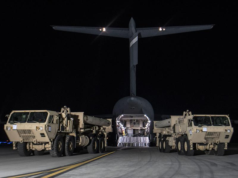 The United States has begun moving parts of the anti-missile Terminal High Altitude Defence System to South Korea: United States Forces Korea via Getty Images