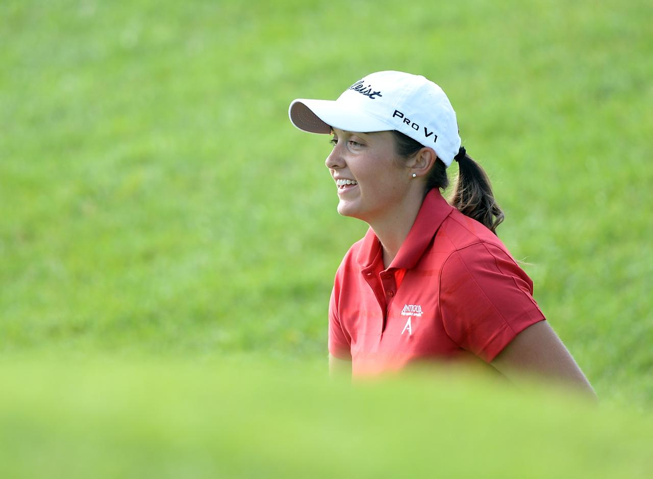 WATERLOO, CANADA - JULY 12: Sara-Maude Juneau of Canada reacts to her chip shot on the ninth green during round two of the Manulife Financial LPGA Classic at the Grey Silo Golf Course on July 12, 2013 in Waterloo, Canada. (Photo by Harry How/Getty Images)