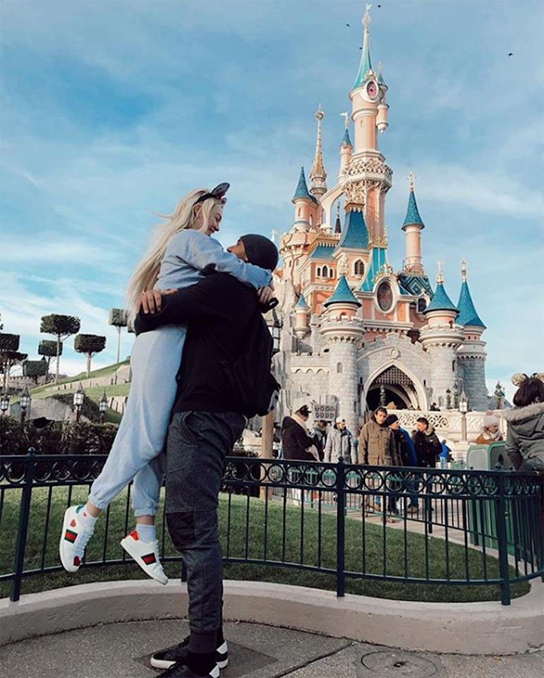 """The <em>Bachelor</em> alum took a romantic trip to Disneyland Paris with her new beau, Vincent Fratantoni. """"@vincethebuilder built me my dream home,"""" she joked in the caption to <a href=""""https://www.instagram.com/p/B7L7n79nB3d/"""">her photo</a> of the pair in front of the park's castle."""