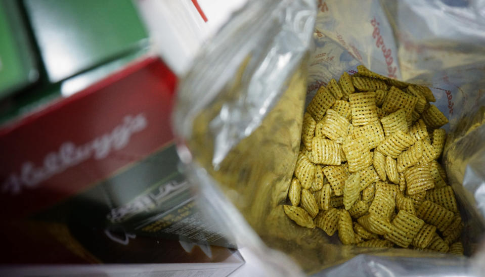The new green onion flavored Chex cereal is seen in its packaging in Seoul, South Korea, on Wednesday, July 1, 2020. The cereal has become a sensation in South Korea after 16 years of delay in its release. (AP Photo/Juwon Park)