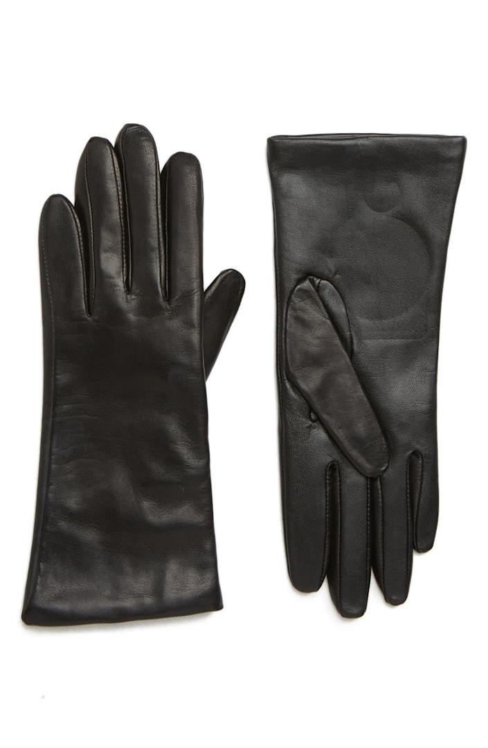 Cashmere Lined Leather Touchscreen Gloves. Image via Nordstrom.